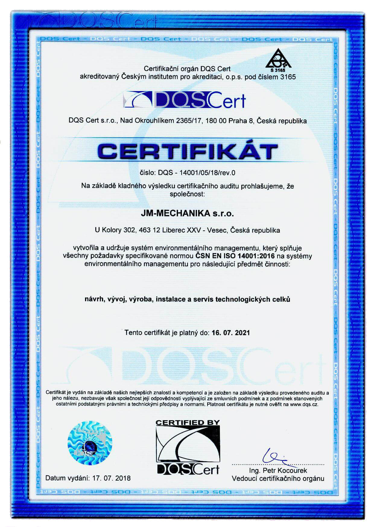 EMS Certifikát