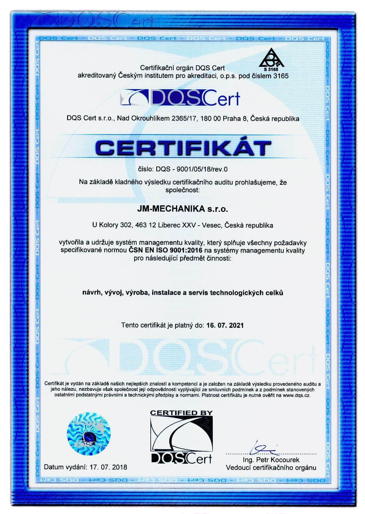 QMS Certifikát